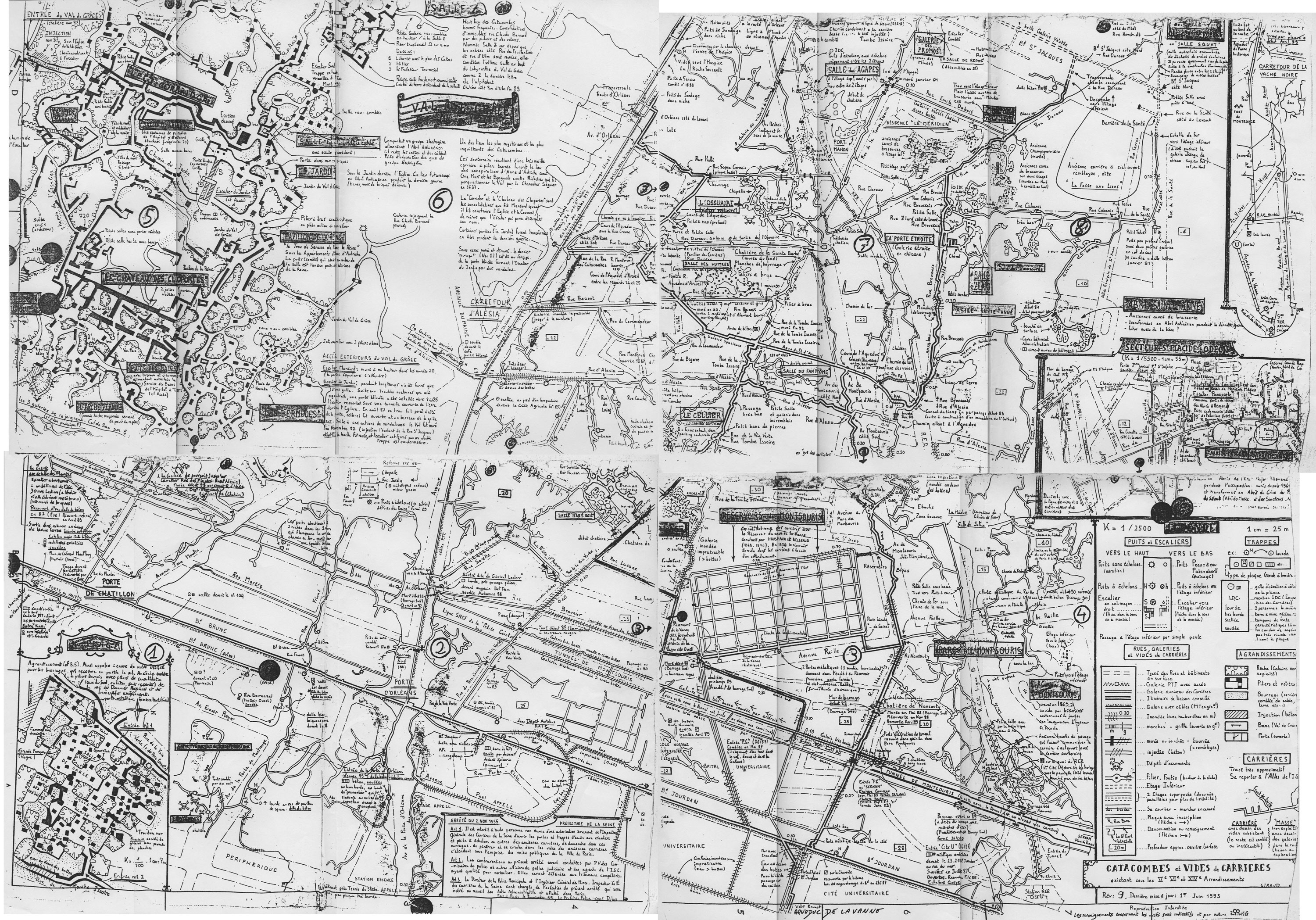 A Hand Drawn Map Of Paris Catacombs 1650x1153 Mapporn