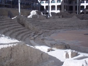 Ruins of the Roman theater from the empire of Caesar Augustus.