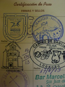 "Each shelter that Kevin ate at or slept at put a stamp in his ""pilgrimage passport""."