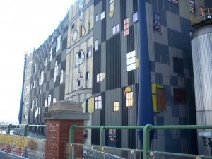 The trash processing center designed by Hundertwasser