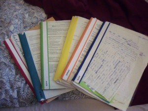 The folders from this semester are different colors like the many different classes I had this semester.