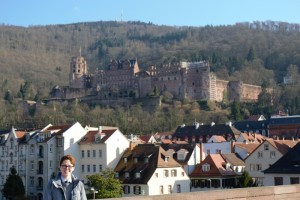 Shelby with the Heidelberg castle in the background