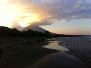 A view of the sunset when we arrived at our hotel on Ometepe Island, Nicaragua.