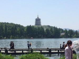 West Lake and pagoda.