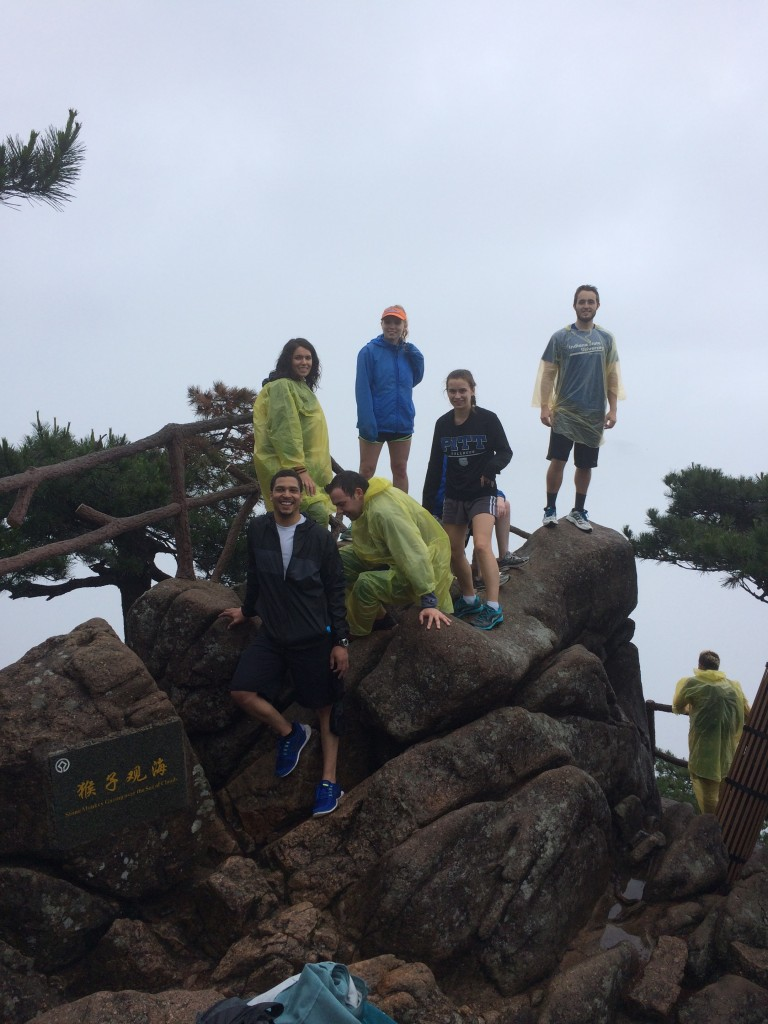 A group of Valpo students on one of the peaks of the Yellow Mountain.