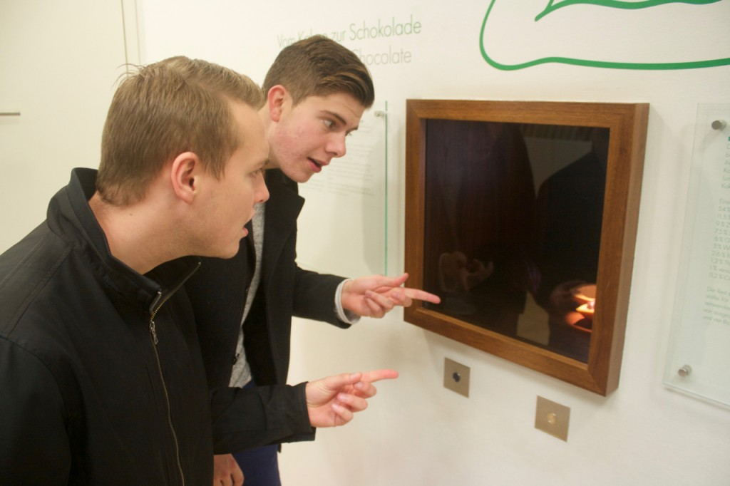 Reid and Ryan being excited about the cacao exhibit.