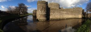 This image of the outside of Beaumaris Castle doesn't really help to give a sense of scale, but it does show the moat.