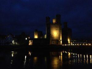 Caernarfon Castle at night.