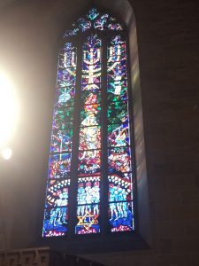 Memorial to holocaust victims in the Ulmer Münster. One of the many examples of fairly progressive stained glass found here.
