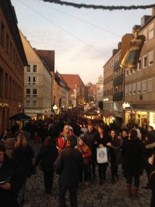I apologize for the low-quality picture, but it both shows the crowds in Nürnberg and reflects the low-quality time that was to be had there.