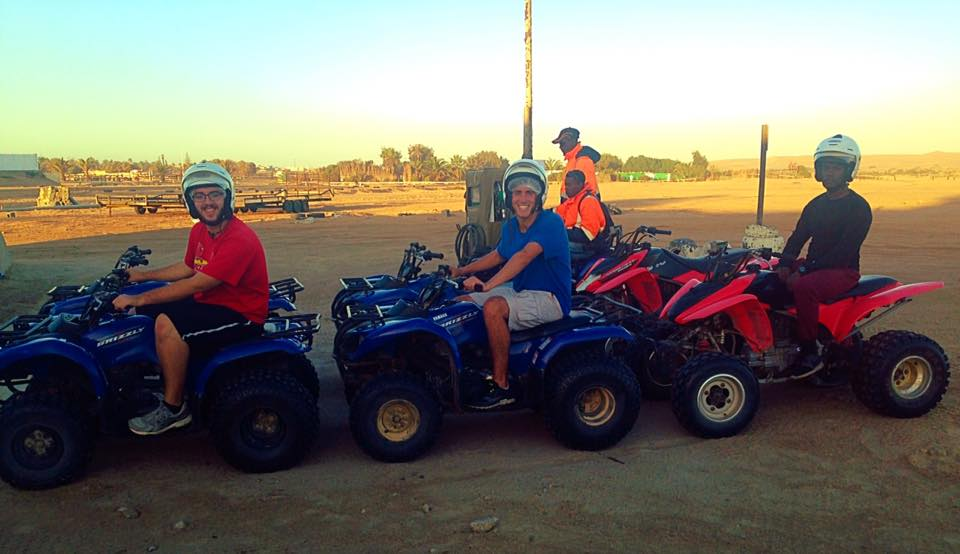 Getting ready to quadbike over the dunes in Namib Desert