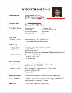 Example of a real-life Lebenslauf auf deutsch.